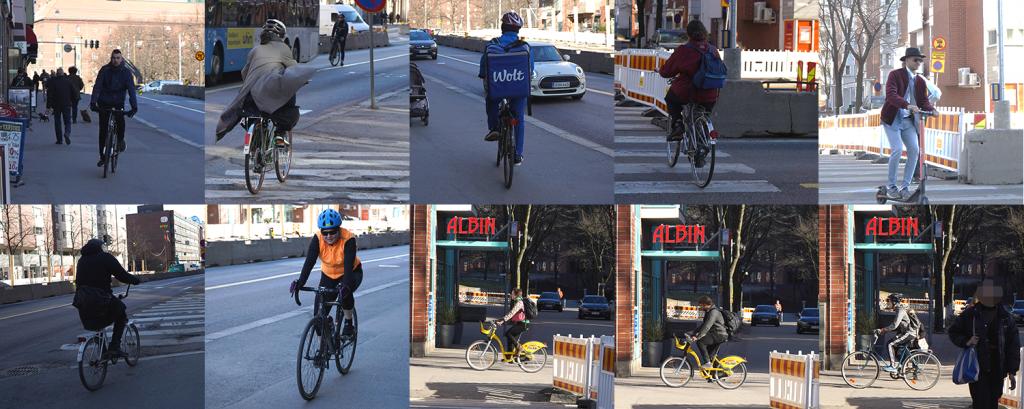 Pyöräilijöitä Hämeentiellä